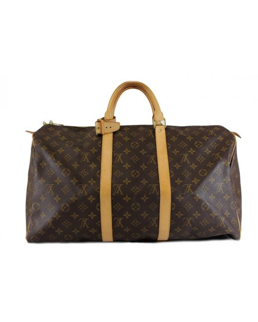 6417ccd07995 Lyst - Louis Vuitton Keepall Cloth Travel Bag in Brown