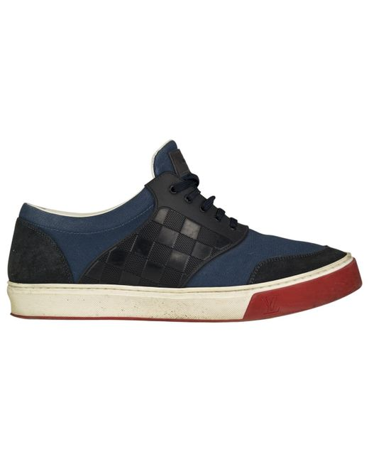Louis Vuitton | Blue Pre-owned Leather Low Trainers for Men | Lyst