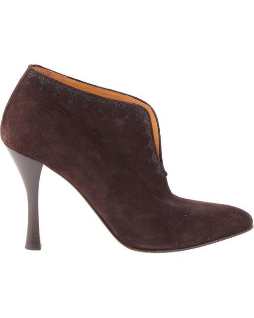 Hermès Brown Suede Heels