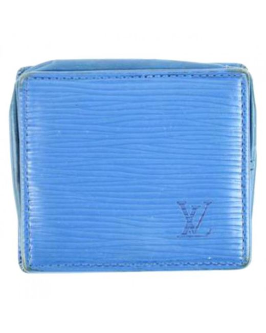 Louis Vuitton - Blue Leather Wallet - Lyst