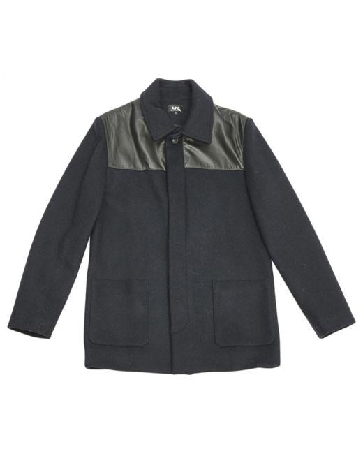 A.P.C. - Blue Navy Wool Coat for Men - Lyst