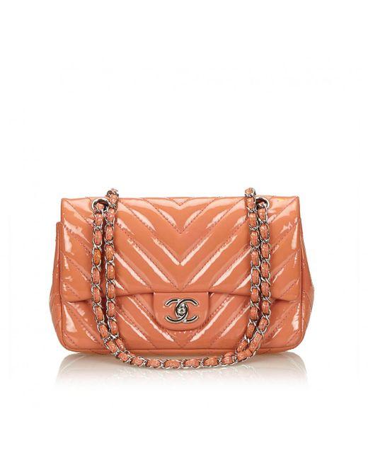 Chanel Timeless Orange Patent Leather Handbag Lyst