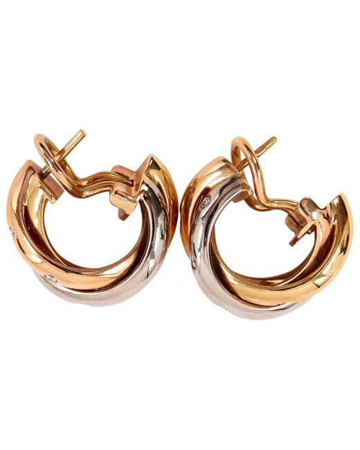 Cartier - Metallic Pre-owned Trinity Yellow Gold Earrings - Lyst