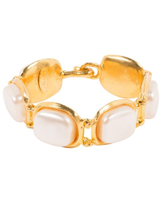 Chanel - Metallic Vintage Gold Metal Bracelets - Lyst
