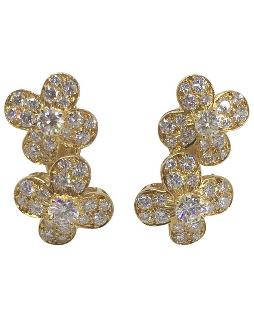 Van Cleef & Arpels - Pre-owned Fleurs Yellow Yellow Gold Earrings - Lyst