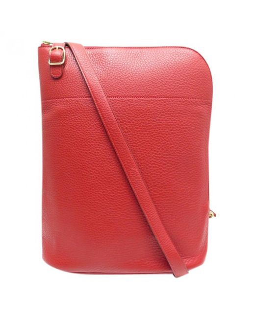 Hermès - Red Pre-owned Leather Crossbody Bag - Lyst