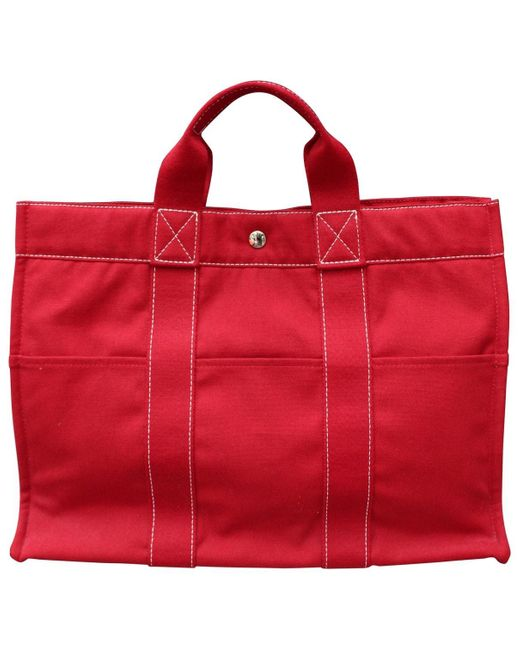 Hermès Herline Red Cloth Handbag