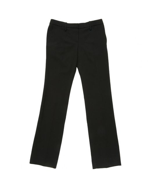 Chloé - Black Pre-owned Straight Wool Trousers - Lyst