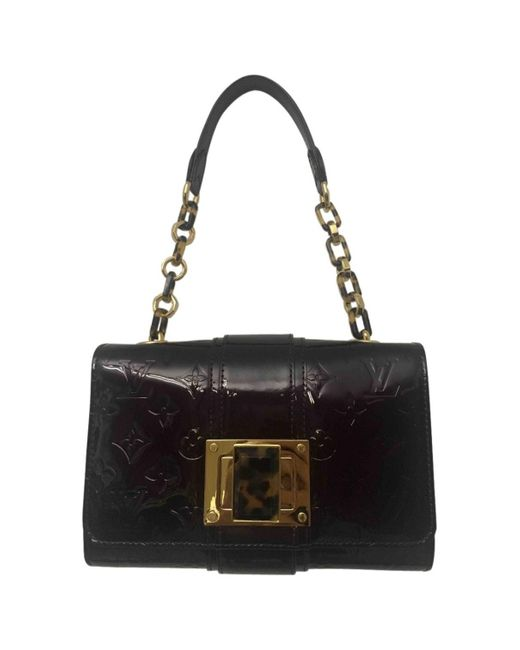 Louis Vuitton Black Burgundy Patent Leather Shoulder Bag