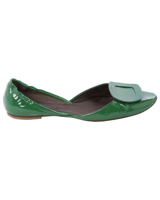 Roger Vivier   Green Pre-owned Patent Leather Ballet Flats   Lyst