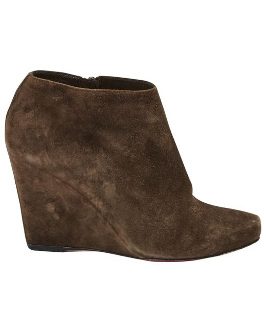 Christian Louboutin   Brown Pre-owned Ankle Boots   Lyst