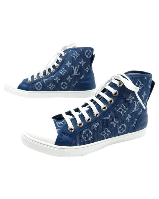 Louis Vuitton   Blue Pre-owned Cloth Trainers   Lyst