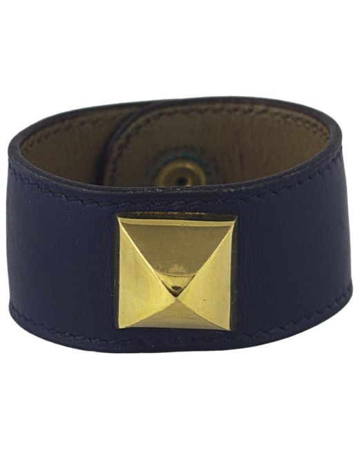 Hermès - Pre-owned Vintage Médor Blue Leather Bracelets - Lyst