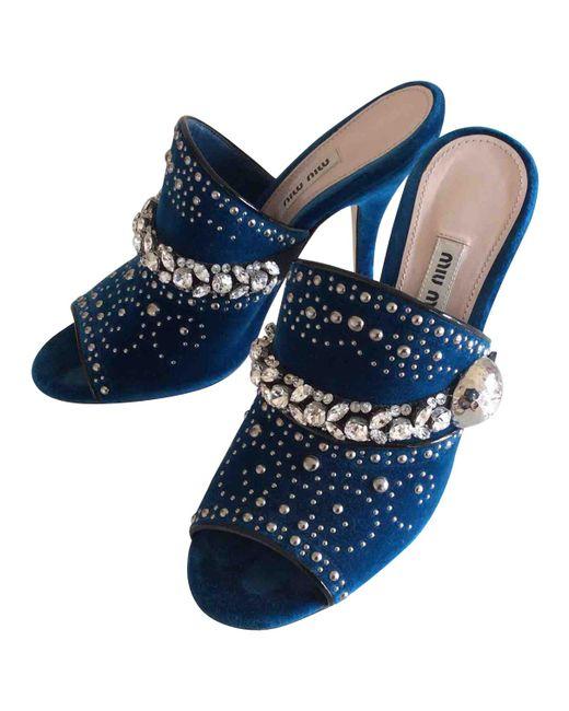 Miu Miu | Blue Pre-owned Velvet Heels | Lyst