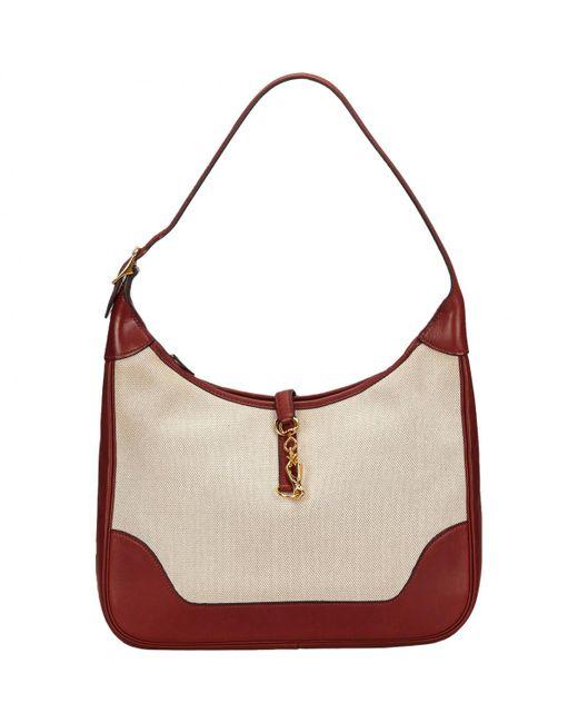 Hermès - White Pre-owned Trim Leather Handbag - Lyst