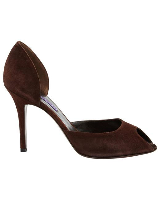 Ralph Lauren Collection - Brown Suede Heels - Lyst