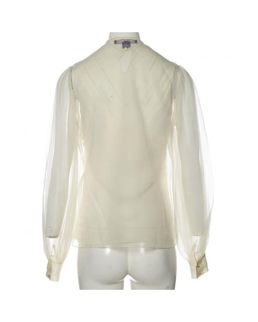 568a3eafa928e ... Ralph Lauren Collection - White Silk Blouse - Lyst ...