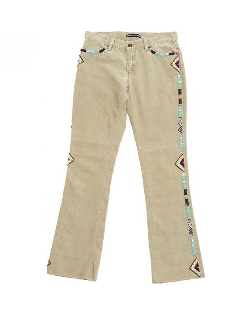 Ralph Lauren Collection - Natural Beige Velvet Trousers - Lyst