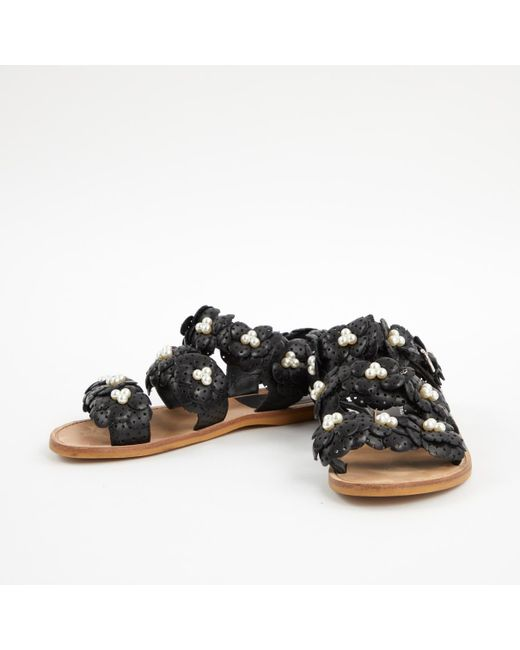 d73b74f272f35f ... Chanel - Pre-owned Black Leather Sandals - Lyst ...
