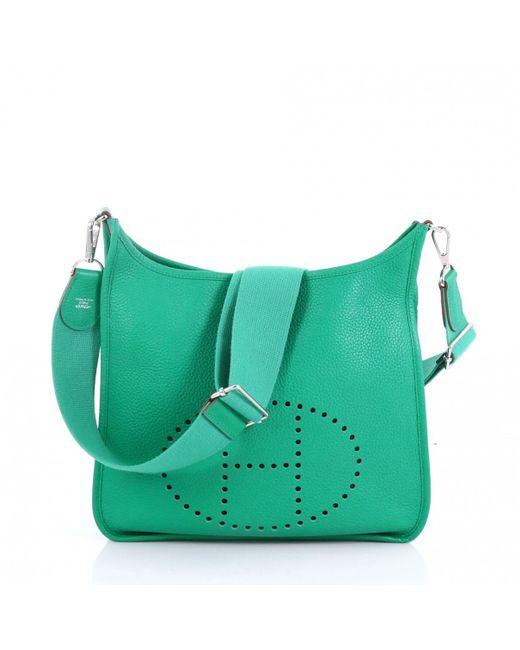 Hermès Evelyne Green Leather Handbag in Green - Lyst c4943ec6e