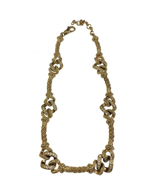 Dior - Metallic Pre-owned Vintage Gold Metal Necklace - Lyst