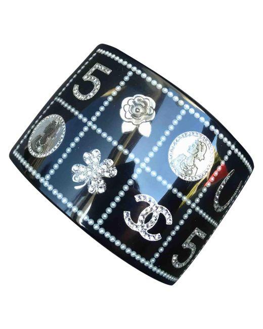 Chanel - Black Metal Bracelet - Lyst
