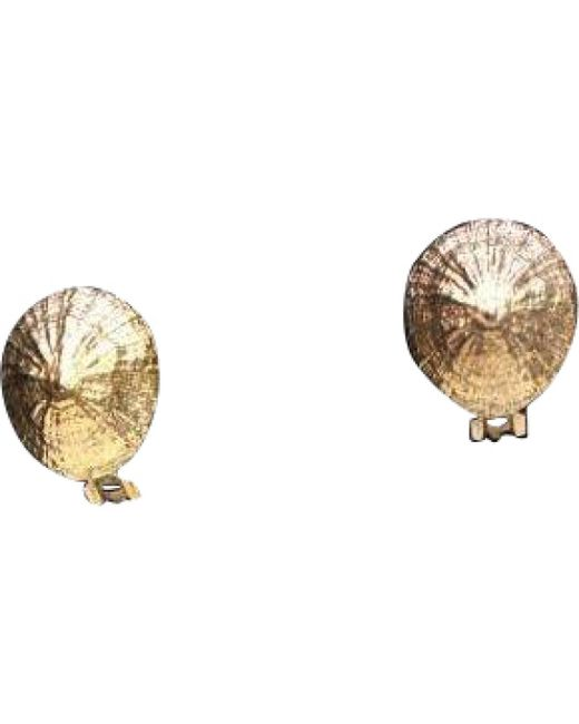 Hermès - Metallic Vintage Gold Metal Earrings - Lyst