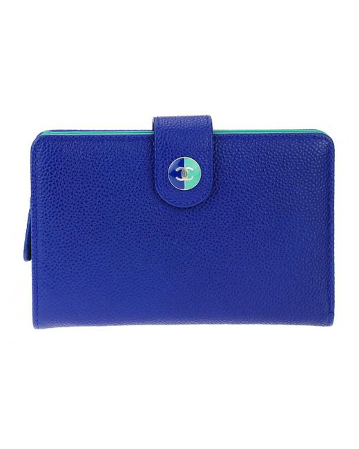 Chanel - Blue Leather Wallet - Lyst