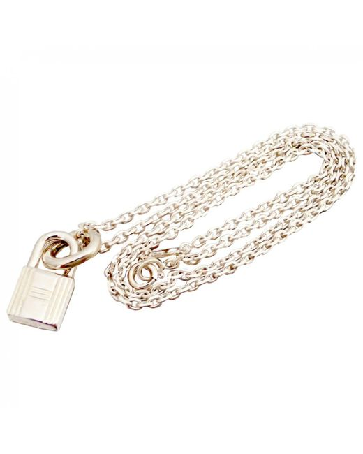 Hermès - Metallic Pre-owned Amulette Silver Necklace - Lyst