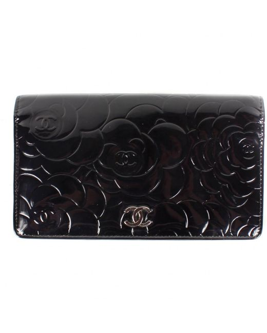Chanel - Black Patent Leather Wallet - Lyst