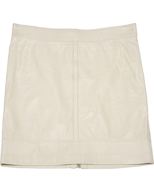Belstaff - Natural Pre-owned Leather Mini Skirt - Lyst