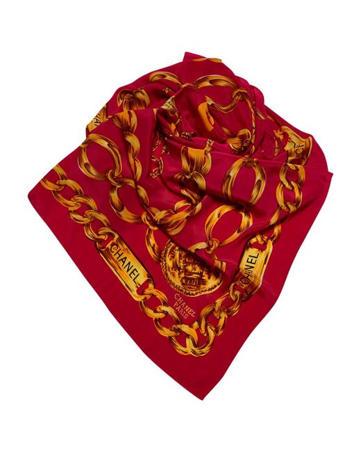 Chanel - Red Pre-owned Vintage Burgundy Silk Scarves - Lyst