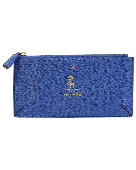 Anya Hindmarch - Blue Leather Clutch Bag - Lyst