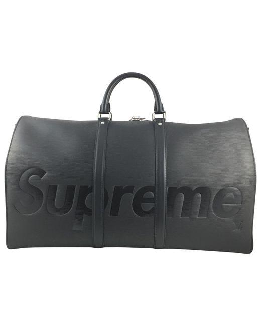Supreme - Black Leather Weekend Bag for Men - Lyst