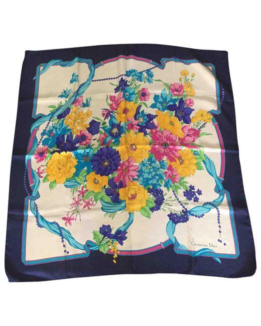 Dior - Blue Silk Silk Handkerchief - Lyst