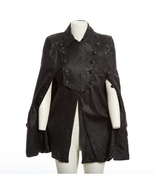 Balmain - Black Leather Cape - Lyst
