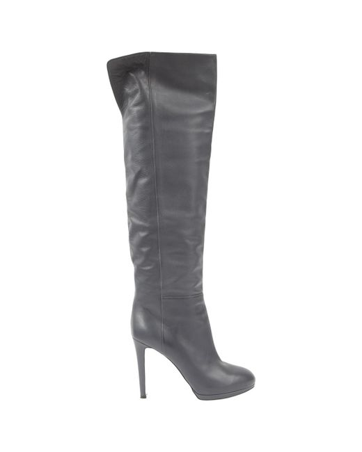 Sergio Rossi - Gray Pre-owned Leather Boots - Lyst