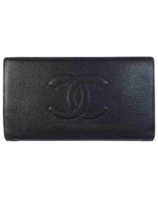 9e6d54e40a8928 Chanel Black Leather Wallets in Black - Lyst
