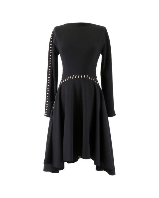 Lanvin - Black Wool Mid-length Dress - Lyst