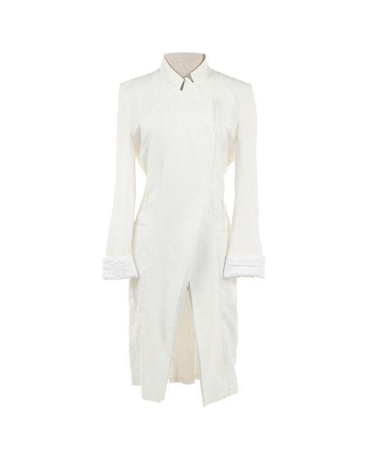 Ann Demeulemeester White Cotton Coat