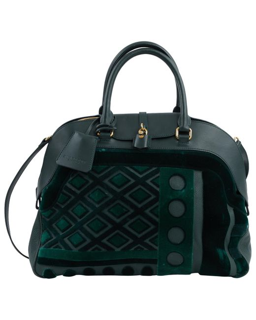 Burberry - Green Leather Shoulder Bag - Lyst