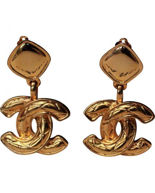 Chanel - Metallic Matelassé Earrings - Lyst
