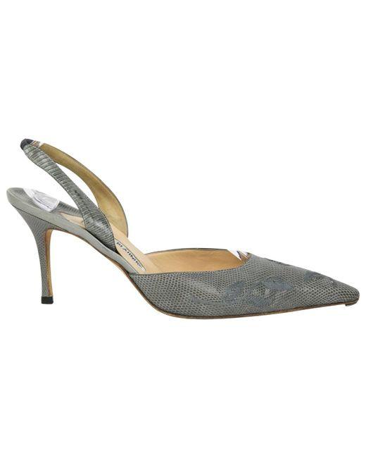 Manolo Blahnik - Gray Vintage Grey Lizard Heels - Lyst