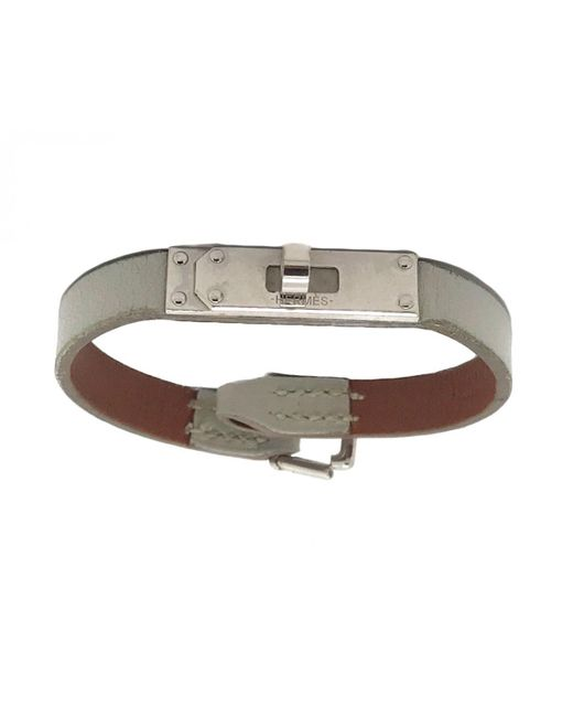 Hermès - White Kelly Leather Bracelet - Lyst