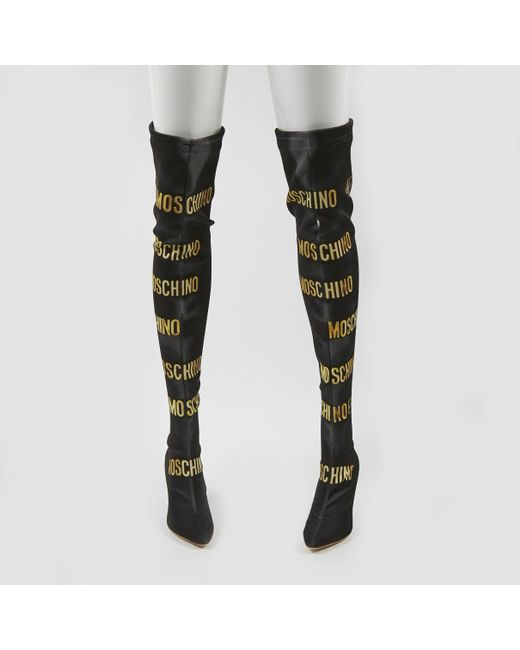 a8b6c1b56c2 ... Moschino - Black Leather Boots - Lyst ...