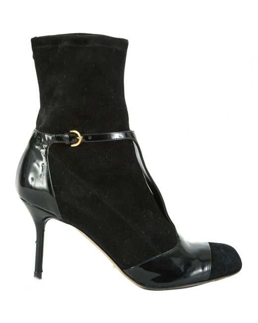 Sergio Rossi - Black Suede Ankle Boots - Lyst