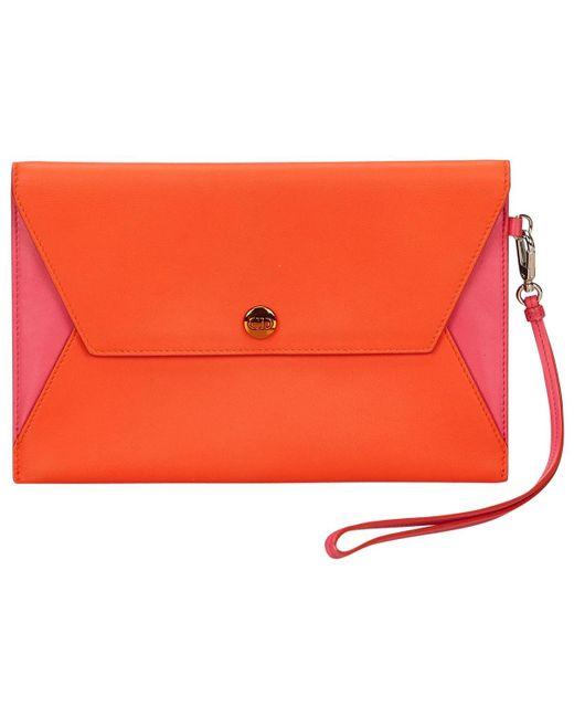 Dior - Orange Leather Clutch Bag - Lyst