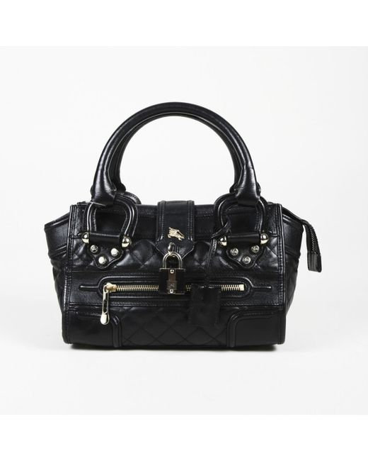 Lyst - Burberry Black Leather Handbag in Black 546c3e6fe4242