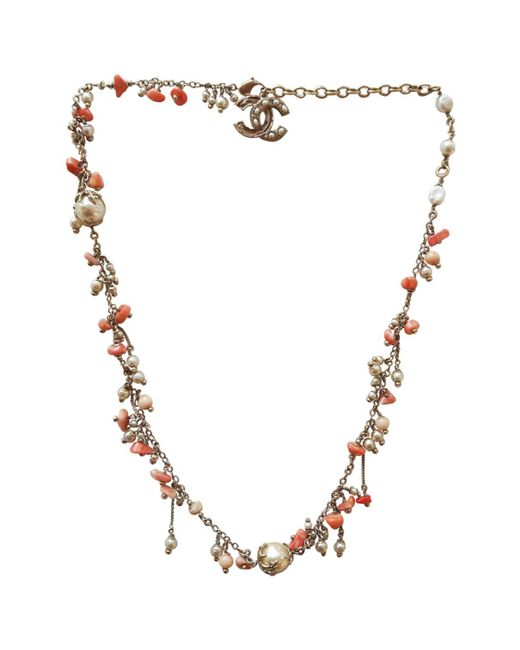 Chanel - Orange Gold Metal Long Necklace - Lyst