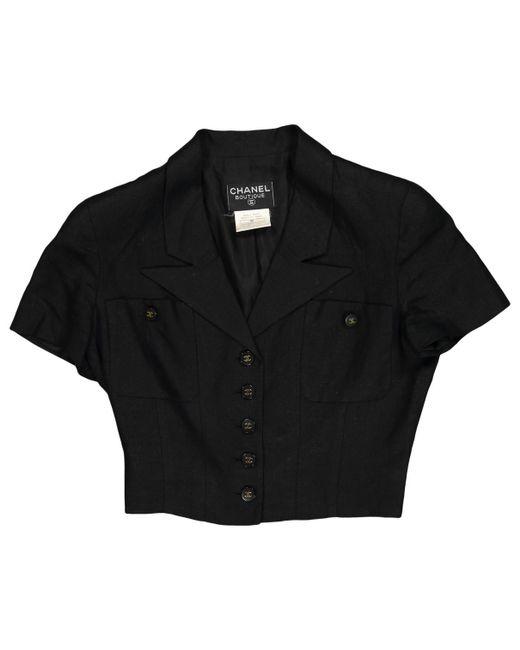 Chanel - Black Linen Short Vest - Lyst
